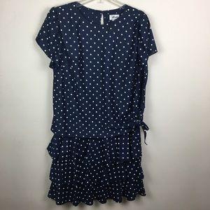 Vintage navy polka dot ruffle midi dress